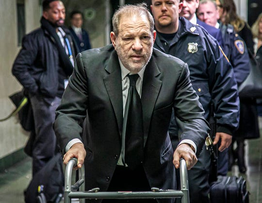 Harvey Weinstein leaves a Manhattan courthouse after a second day of jury selection for his trial on rape and sexual assault charges, Thursday, Jan. 16, 2020, in New York.