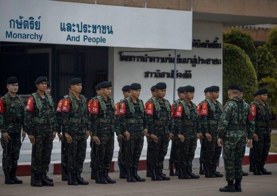 Thai soldiers at Surathampitak Military Camp in Nakhon Ratchasima, Thailand, Monday, Feb. 10, 2020.