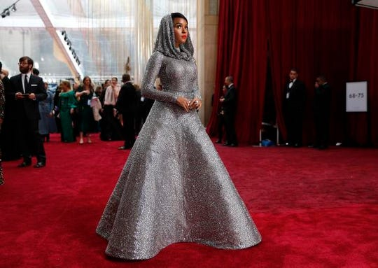 Janelle Monae arrives at the Oscars on Sunday, Feb. 9, 2020, at the Dolby Theatre in Los Angeles. (AP Photo/John Locher)
