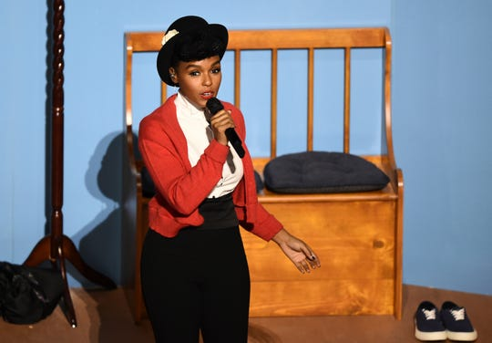 Janelle Monae performs onstage at the Oscars on Sunday, Feb. 9, 2020, at the Dolby Theatre in Los Angeles.