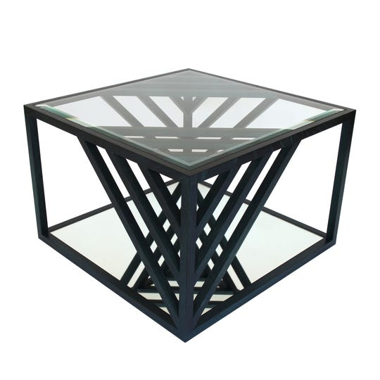 Alex Drew & No One's Ivy Cocktail Table has a white oak frame dyed phthalo green. It has a mirrored bottom shelf and clear beveled glass top.