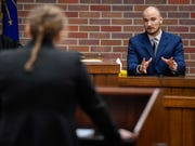 Castle's Tyler King, on the witness stand, is questioned by Sydney Walther, as the attorney, during a Mock Trial Competition hosted by the Evansville Bar Association and the Indiana Bar Foundation Saturday at the Vanderburgh County Courthouse, February 8, 2020.