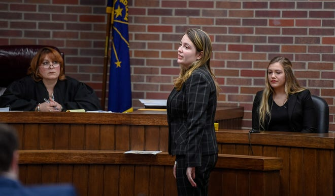 Mater Dei's Andrea Reisinger, as the attorney, questions Castle High School's Lydia Walker in court with Judge Mary Margaret Lloyd presiding during a Mock Trial Competition hosted by the Evansville Bar Association and the Indiana Bar Foundation Saturday at the Vanderburgh County Courthouse, February 8, 2020.