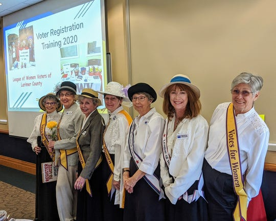 League of Women Voters of Larimer County members: From left; Linda Thomas, Jane Hamburger, Loretta Hogg, Kathy Ewert, Judy Weaver, Christine O'Donnell, Jane Everham.