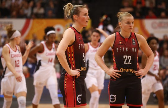 Former CSU basketball players Kim Mestdagh and Hanne Mestdagh pictured during a basketball gamebetween Belgium's national team and Canada, at the women's Basketball Olympic qualification tournament on Feb. 6, 2020 in Oostende.
