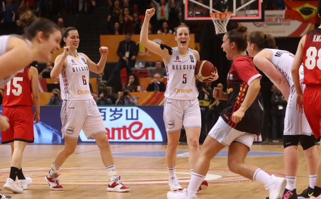 Former CSU basketball player Kim Mestdagh celebrates after Belgium beat Japan, during the FIBA Women's Olympic Qualifying Tournament match on February 8, 2020 in Ostend.