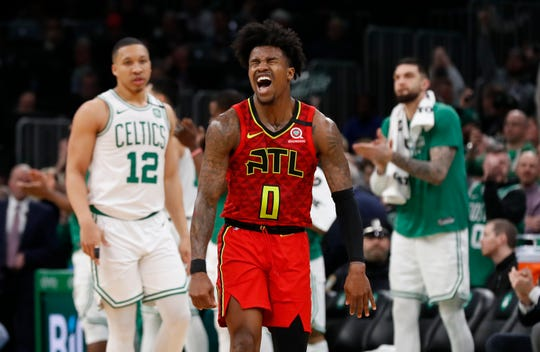 Feb 7, 2020; Boston, Massachusetts, USA; Atlanta Hawks guard Brandon Goodwin (0) reacts to missing the tying basket with less than five seconds to go during the fourth quarter of their loss to the Boston Celtics at TD Garden. Mandatory Credit: Winslow Townson-USA TODAY Sports
