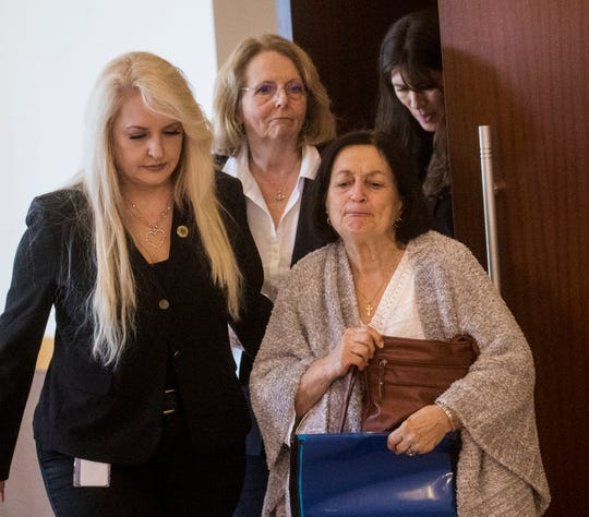 Mary Ann Groves, right, the mother of Teresa Sievers, leaves the courtroom after sentencing  for Curtis Wayne Wright on Monday, Feb. 10, 2020. Judge Bruce Kyle gave Wright was sentenced to 25 years for his role in Teresa's murder. He struck a deal with the state for his testimony and was the main witness against Mark Sievers and Jimmy Ray Rodgers.