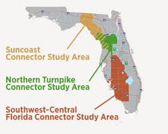 Map of proposed M-Cores toll roads in Florida
