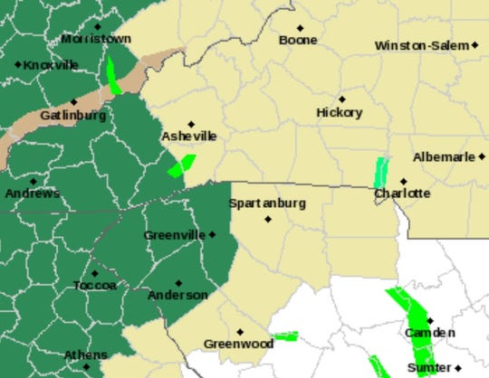 Areas highlighted in dark green are under a flash flood watch.