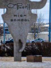 Great Falls Police search C.M. Russell High School after a note threatening violence at several schools was found at an elementary school in Great Falls Monday morning.  Great Falls Public School officials decided to close all schools in the district on Monday.