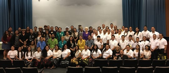 Delegates for the 13th FestPac pose for a group photo after a press conference at Guam Museum on Monday, Feb. 10. The festival's Guam executive planning committee and Guam's Council on the Arts and Humanities Agency announced the 100 delegates on Monday.