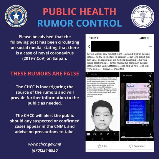The Commonwealth Healthcare Corporation said rumors being shared on social media are false and there are no cases of coronavirus on Saipan as of Feb. 10, 2020.