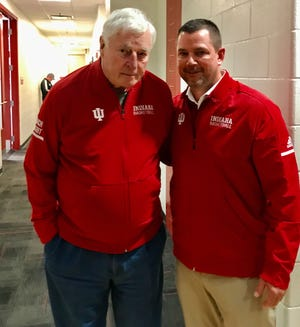Todd Leary (right) with former IU coach Bob Knight Saturday, Feb. 8, 2020, the day Knight returned to Assembly Hall.