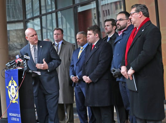 FOP President Richard Snyder joins others in speaking during a Public Safety call to action press conference held at City Market, Monday, Feb. 10, 2020.  City-County Councillors, FOP and other groups announce a first step in citizen-driven public safety initiative.