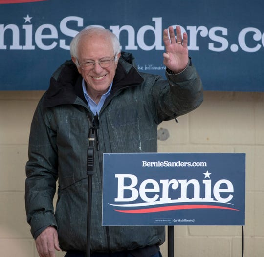 Democratic presidential candidate Bernie Sanders speaks at a rally Monday in Hudson, N.H.