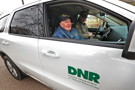 Bob Vollmer, 102, leaves the Riverside Cemetery in Clinton, IN, Wednesday, Feb. 5, 2020, after his last time working in the field.  It was his last day at work after working for the Department of Natural Resources for 57 years.  He is the state's oldest employee and retires Feb. 6, 2020.  He drove to the site this morning, but got a ride to lunch afterwards.