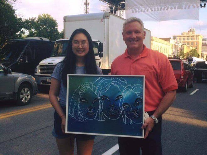 Hannah Song, a freshman at UI  and graduate of IC West High in 2017, was the first to receive the commission for Creating a Legacy of Local Artists.