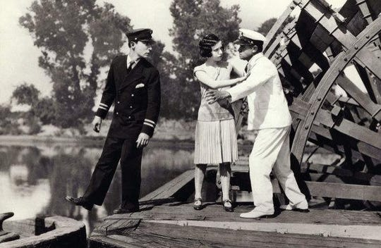 """A scene from the silent film """"Steamboat Bill, Jr."""""""
