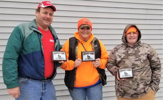 Maribel Sportsmen's Club held its Super Hunt as part of its 31st annual Cottontail Classic. The three-person team that was drawn at random from the teams that brought in their nine-rabbit limit was (from left) Michael Mancheski, Marie Hickman andDanica Brandes at 32.57 pounds.