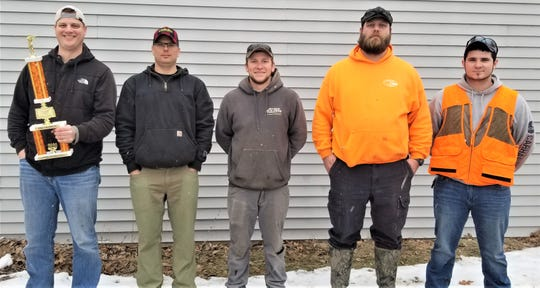 Maribel Sportsmen's Club held its Cottontail Classic on Feb. 8 with the top rabbits going as follows (from left)first place went to Eric Koenigs at 3.84 pounds, second place went to Ross Silbernagel at 3.78 pounds, third place went to John Novak at 3.78 pounds, and fifth place went to Mark Ross at 2.73 pounds. The smallest rabbit registered went to Brandon Boettcher at 1.78 pounds.Not pictured in fourth place was Tanner Peterik at 3.76 pounds.