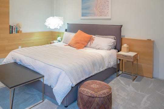 Laura Edwards' master bedroom is a sleek and serene reflection of the uncluttered look of the East Memphis condominium.