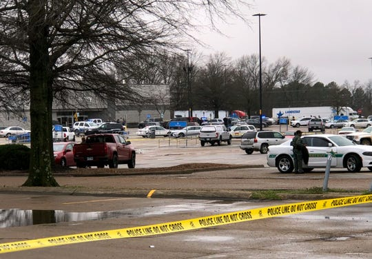 The scene outside the Walmart in Forrest City, Arkansas, on Monday following a shooting inside the store.