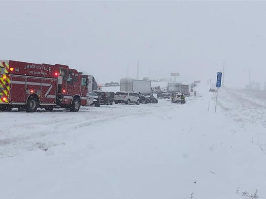 This photo shows the scene of a 20-plus vehicle pileup on I-39/90 in Rock County near Janesville on Sunday.