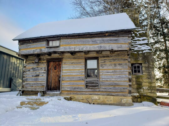 The Cothren House cabin dates to the 1830s and was moved from Blue River to Mineral Point in the 1970s.