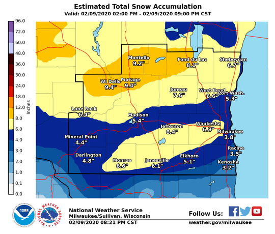A band of heavy snow set up over far southern Wisconsin on Sunday, resulting higher snow totals for some areas of the region away from Lake Michigan.
