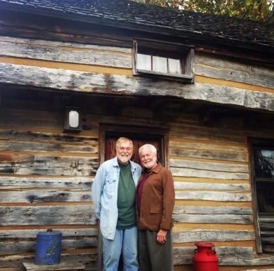 Richard Peterson, from left, and Frank Colson bought an 1830s log cabin and had it reconstructed on their property, the Cothren House estate in Mineral Point, in the 1970s. The men sold the estate, including the cabin, in 1978, but visited in 2015.