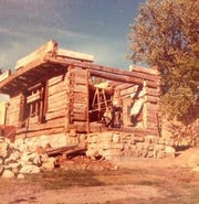 An 1830s cabin was moved from Blue River to Mineral Point in the 1970s and was reconstructed log by log on the Cothren House estate.