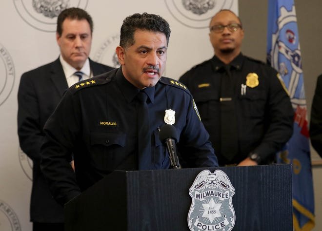 Milwaukee Police Chief Alfonso Morales speaks at the Police Administration Building in Milwaukee on Monday. Morales held a news conference to discuss the fatal shooting of Annie Sandifer that occurred in the 4300 block of North 60th Street on Feb. 1.