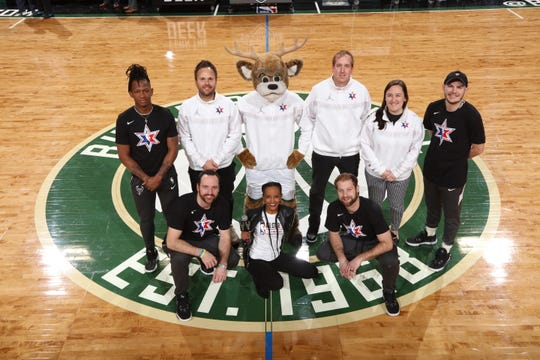 Milwaukee Bucks entertainment staff also get to go to the All-Star game to help run entertainment and perform. They took a photo after the NBA game between the Philadelphia 76ers and the Bucks at Fiserv Forum on February 6, 2020 in Milwaukee, Wisconsin.