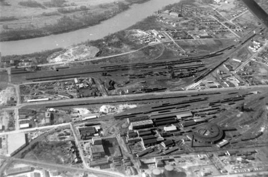 An aerial view of the Western Rail Yards in downtown Montgomery.