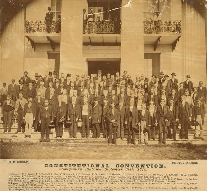 Delegates to the Alabama Constitutional Convention of 1875 on the steps of state Capitol.