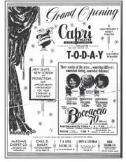 The Advertisement that ran in the Montgomery Advertiser on Dec. 21, 1962, heralded the grand opening of the Capri Theatre.