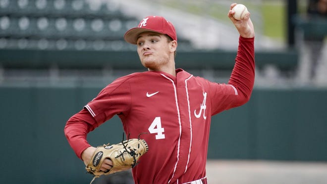 Alabama freshman left-handed pitcher Connor Prielipp (4) throws during a fall practice game against Southern Miss at Sewell-Thomas Stadium in Tuscaloosa. (Photo courtesy of Alabama athletics)
