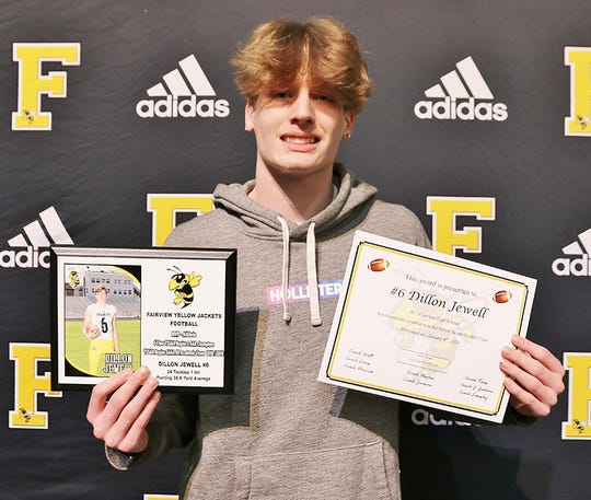 Fairview High Senior Dillon Jewell - #6, WR/S - received awards for MVP- Athlete and 4 Time TSSAA Region 6 AAA Champions At the Annual Fairview High Football Awards Banquet held on Jan. 10, 2020.