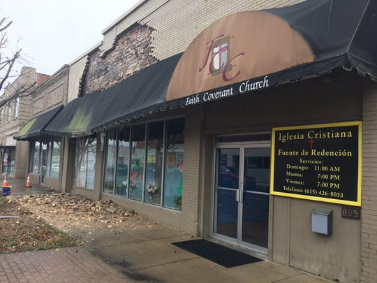 The brick facade of a South Main Street church collapsed Monday in downtown Springfield.