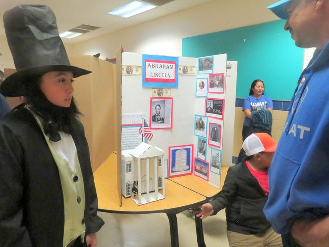 """Abraham Lincoln was spotted at """"A Walk Through Time"""" History Night at Bataan Elementary School."""