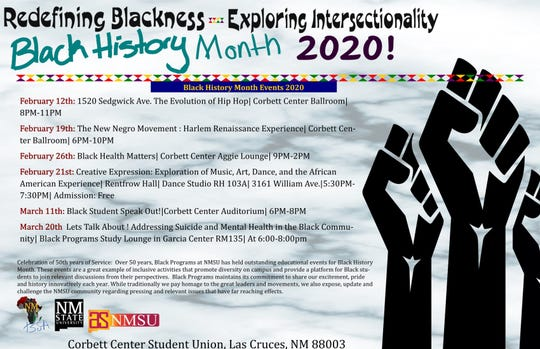 NMSU's Black History Month will feature six different events throughout the month of February and March including the evolution of hip hop and black health matters.