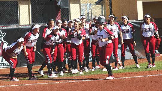Senior Shelby Shultes rounds the bases after hitting a grand slam during New Mexico State's 9-1 home win over UTEP on Sunday.