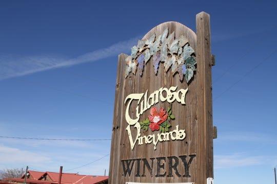 Tularosa Vineyards and Winery sign.