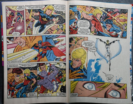 Two pages of Volume 1, No. 32 of Quasar comic book.