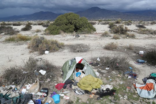 A homeless encampment in the Santa Ana River in Redlands, February 9, 2020.