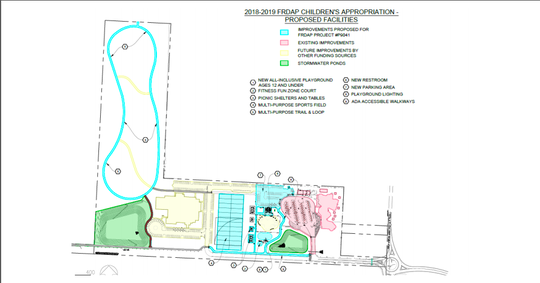 A drawing shoes where new amenities will be placed in Pace's Benny Russell Park. The park is slated to get a $4 million upgrade, to be complete by next April.