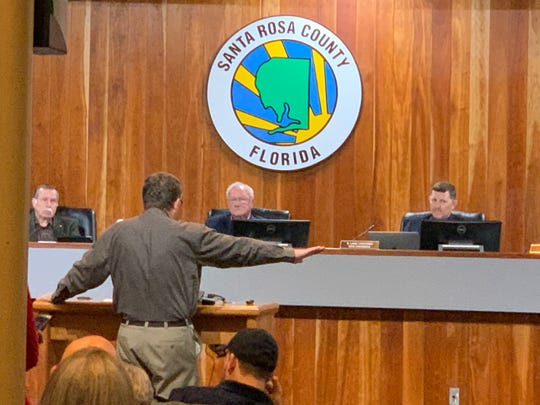 """District 3 Commissioner and Board Chairman Don Salter, center, seated, blocked a """"pro-life sanctuary"""" resolution from being put on Monday's Santa Rosa County agenda."""