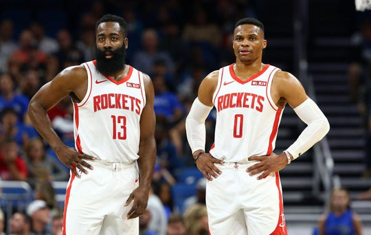 Houston Rockets guards Russell Westbrook (0)  and James Harden (13) are two of the highest paid NBA players in the 2019-20 season.