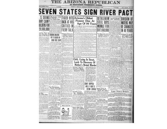 "The Arizona Republican in 1922 detailed how the Colorado River Compact would protect Arizona's ""vast resources."""